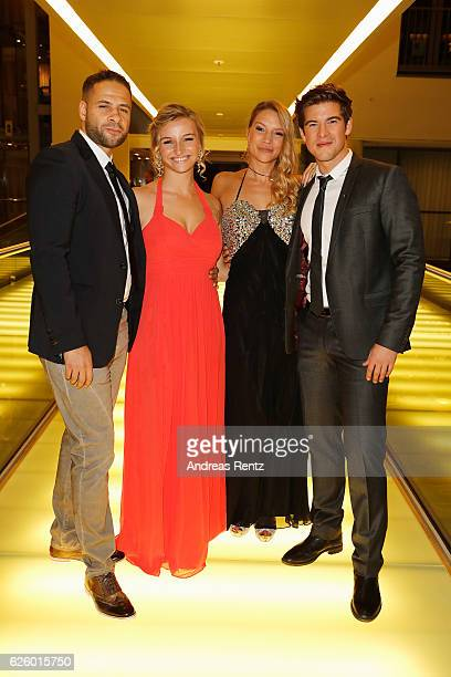 Mike Adler Kira Kuhnert and Philipp Danne with his girlfriend Viktoria Schuessler attend the charity event dolphin aid gala 'Dolphin's Night' at...