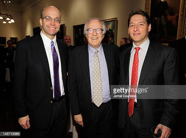 Mike Allen of Politico attorney Robert Barnett and Executive Vice President and Publisher of Simon Schuster Johnathen Karp attend the Book Signing...