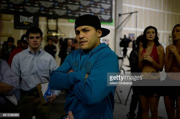 Mike Alvarado answers questions from the media. Media day for Mike Alvarado and Brandon Rios in preparation for their third fight on Wednesday,...