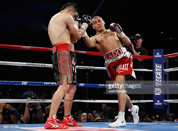 Mike Alvarado lands a right uppercut to the head of Brandon Rios in their WBO interim junior welterweight championship bout at the Mandalay Bay...