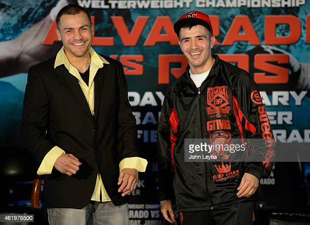 Mike Alvarado pose for photos with Brandon Rios after a press conference January 22, 2015 for the upcoming WBO International Welterweight Title at...