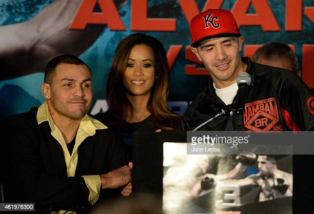 Mike Alvarado shakes hands with Brandon Rios during a press conference January 22, 2015 for the upcoming WBO International Welterweight Title at 1st...