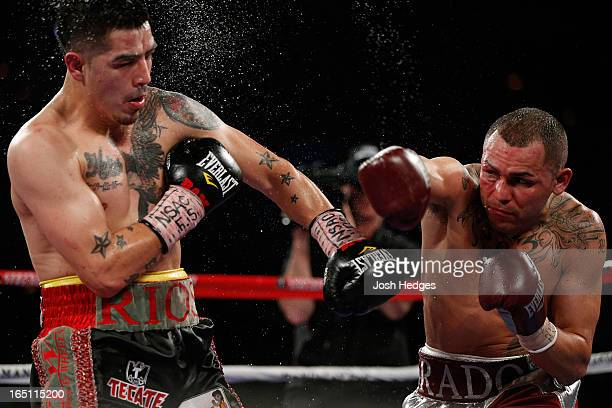 Mike Alvarado throws a right to the head of Brandon Rios in their WBO interim junior welterweight championship bout at the Mandalay Bay Events Center...