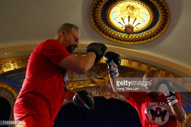 Mike Alvarado works out at Ukrainian Cultural Center on April 09 2019 in Los Angeles California