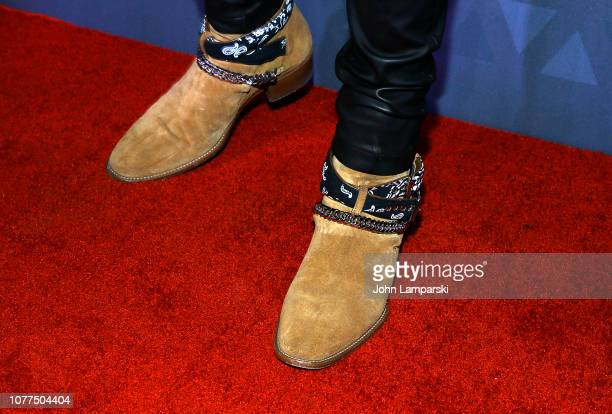 Mike Amiri shoe detail attends 2018 FN Achievement Awards at IAC Headquarters on December 04 2018 in New York City