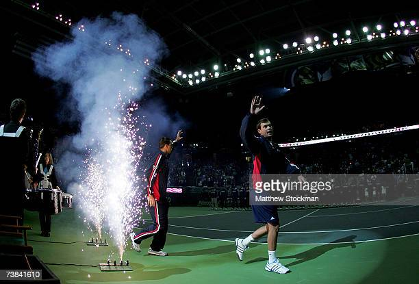 Mike and Bob Bryan are introduced before the fourth rubber of the Davis Cup quarterfinal tie against Spain April 8, 2007 at Joel Coliseum in...