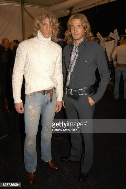 Mike and Brad Kroenig attend Michael Kors fashion show at at the tents on February 11 2004 in New York City