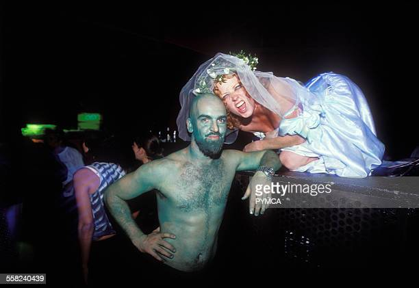 Mike and Claire in fancy dress Manumission Ibiza 1999