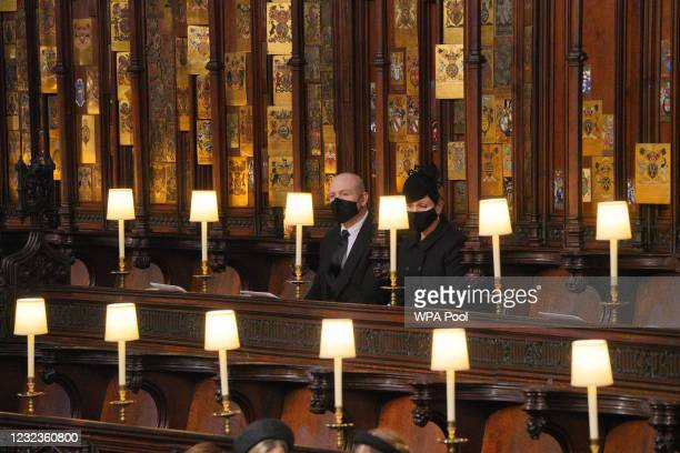 Mike and Zara Tindall attend the funeral of Prince Philip, Duke of Edinburgh, at St George's Chapel at Windsor Castle on April 17, 2021 in Windsor,...