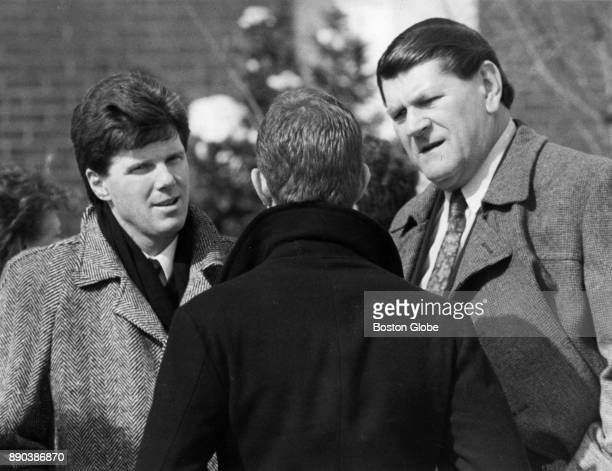 Mike Andrews left and Dick Radatz right speak with an attendee at the funeral for Tony Conigliaro in Boston Feb 27 1990 BGPA Reference 171206_ON_017