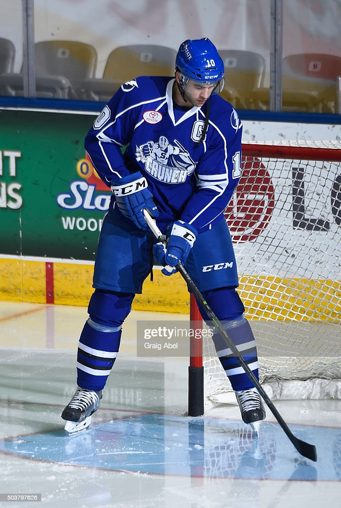 Mike Angelidis #10 of the Syracuse Crunch skates in warmup prior to a game against the Toronto Marlies on January 3, 2016 at Ricoh Coliseum in Toronto, Ontario, Canada.