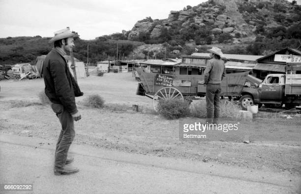 Mike Armstrong foreman and Larry Craven assistant foreman of the Spawn Movie Ranch look over area in which three suspects in the mass murder of...