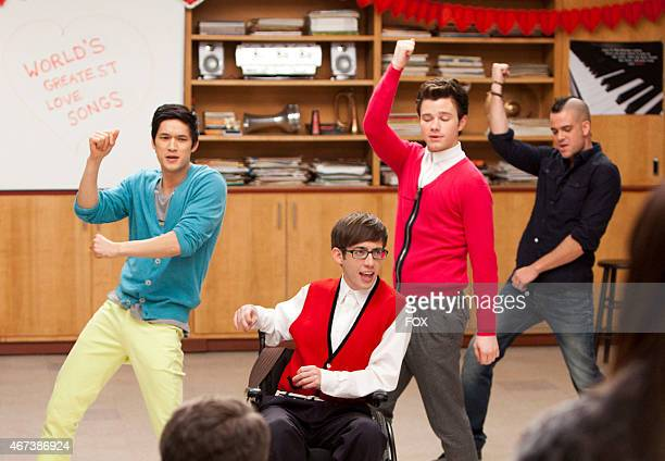 """MIke , Artie , Kurt and Puck perform in the """"Heart"""" episode of GLEE airing Tuesday, Feb. 14 on FOX."""