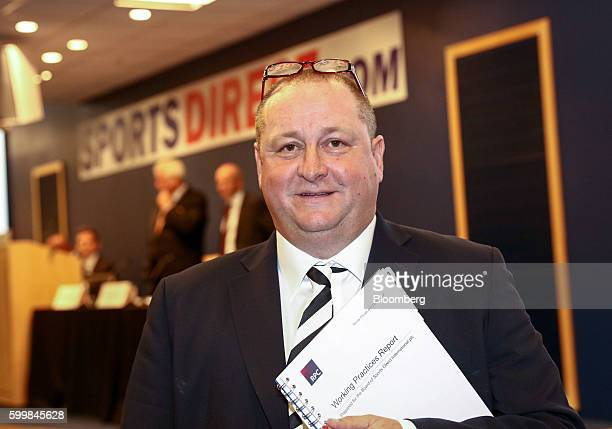 Mike Ashley billionaire and founder of Sports Direct International Plc poses for a photograph prior to the company's annual general meeting at their...