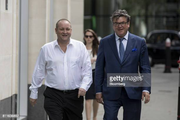 Mike Ashley billionaire and founder of Sports Direct International Plc left arrives at court with Keith Bishop founder of Keith Bishop Associates for...