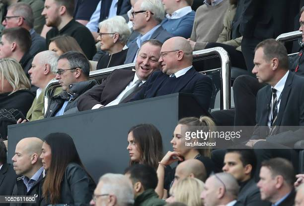 Mike Ashley looks on during the Premier League match between Newcastle United and Brighton Hove Albion at St James Park on October 20 2018 in...