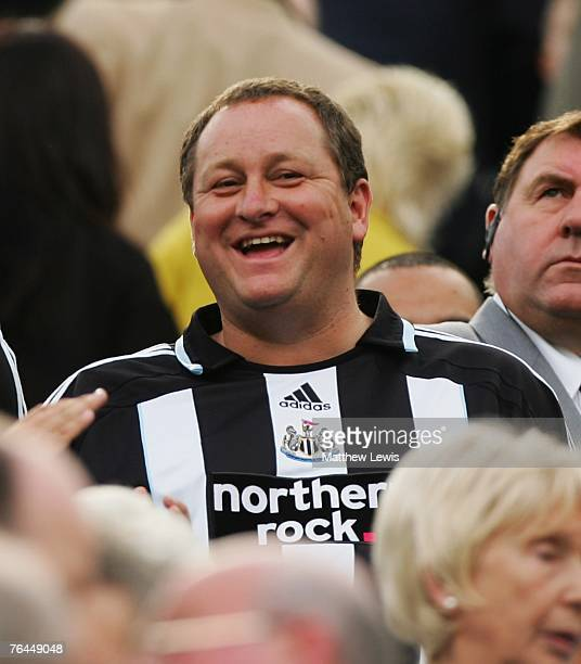 Mike Ashley new owner of Newcastle United looks on during the Barclays Premier League match between Newcastle United and Wigan Athletic at StJames...