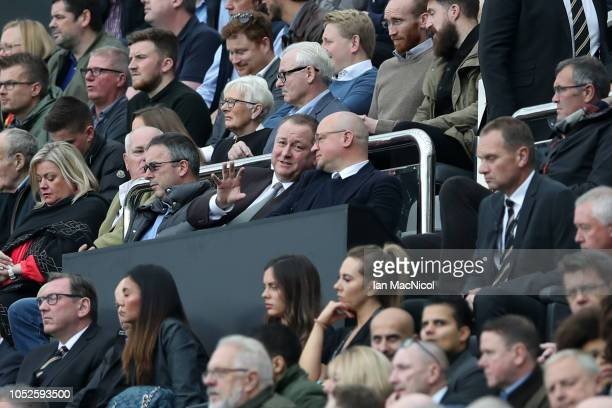 Mike Ashley Newcastle United owner is seen in the stands prior to the Premier League match between Newcastle United and Brighton Hove Albion at St...