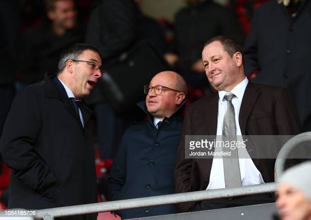 Mike Ashley Newcastle United owner is seen in the stands prior to the Premier League match between Southampton FC and Newcastle United at St Mary's...