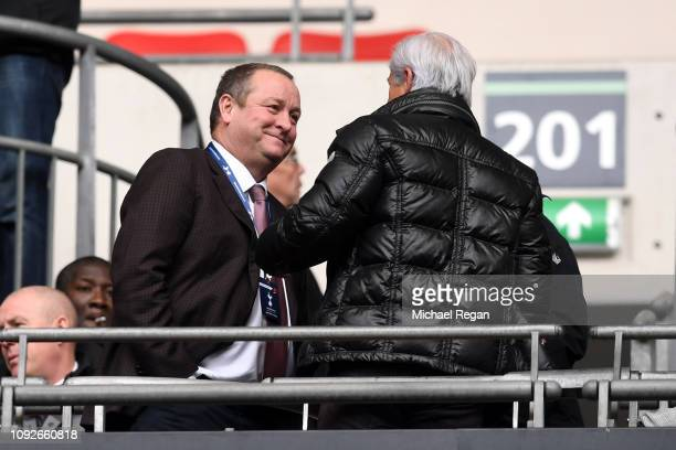 Mike Ashley Newcastle United owner is seen in the stands prior to the Premier League match between Tottenham Hotspur and Newcastle United at Wembley...