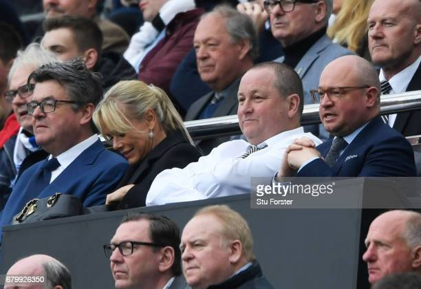 Mike Ashley owner of Newcastle United and Lee Charnley managing director of Newcastle United both look on from the stands during the Sky Bet...