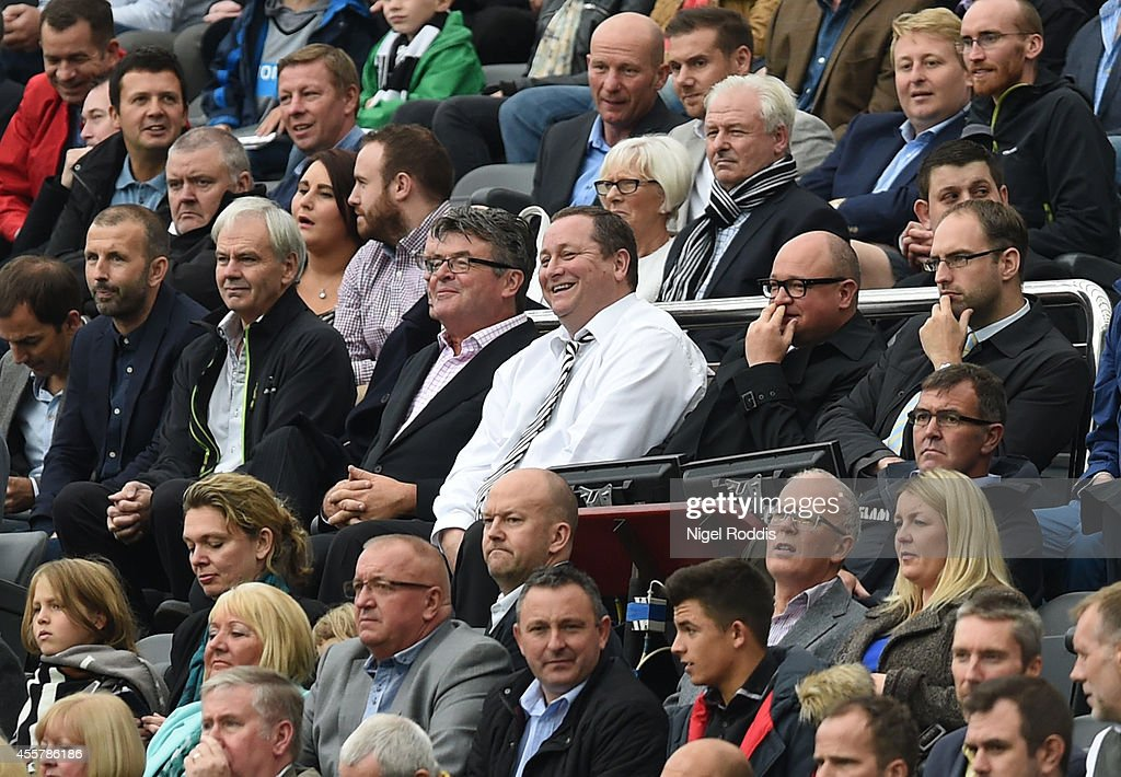 Mike Ashley owner of Newcastle United during Premier League Football match between Newcastle United and Hull City at St James' Park on September 20, 2014 in Newcastle upon Tyne, England.