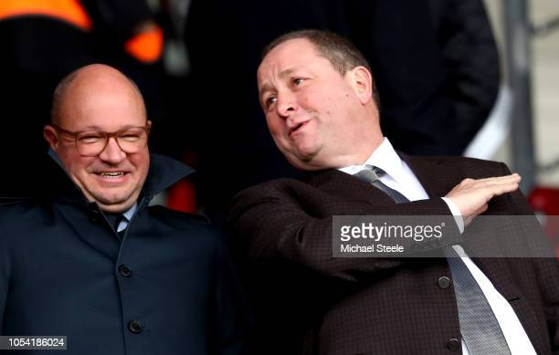 Mike Ashley Owner of Newcastle United is seen in the stands prior to the Premier League match between Southampton FC and Newcastle United at St...