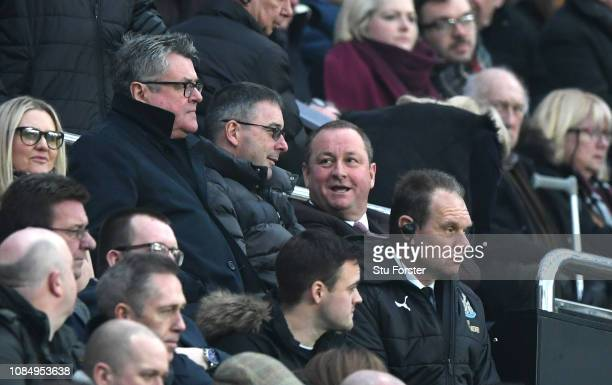 Mike Ashley owner of Newcastle United is seen in the stands prior to the Premier League match between Newcastle United and Cardiff City at St James...