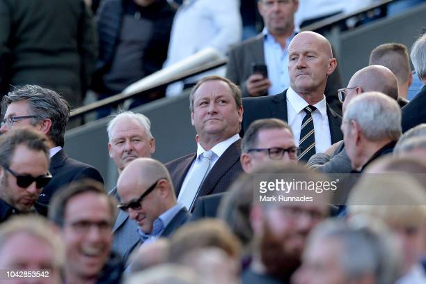 Mike Ashley owner of Newcastle United looks o during the Premier League match between Newcastle United and Leicester City at St James Park on...