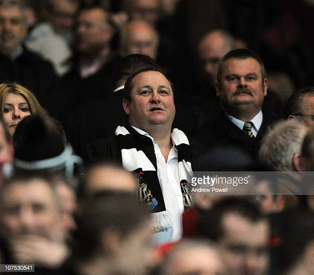 Mike Ashley owner of Newcastle United looks on during a Barclays Premier League match between Newcastle United and Liverpool at St James' Park on...