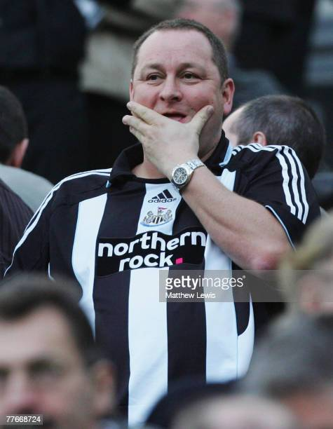 Mike Ashley owner of Newcastle United looks on during the Barclays Premier League match between Newcastle United and Portsmouth at StJames' Park on...