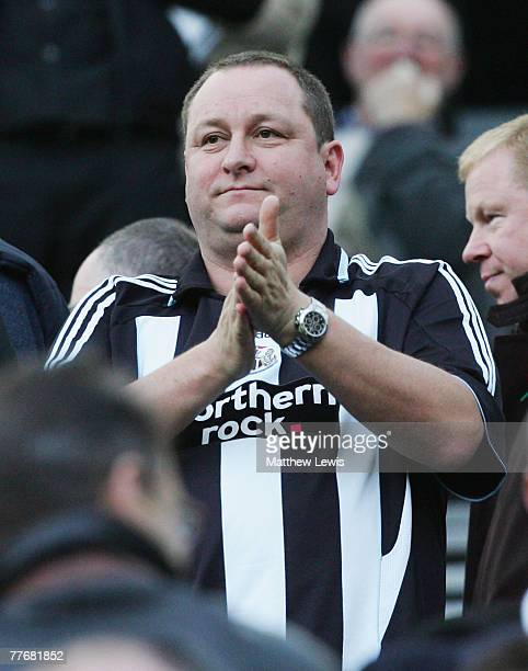 Mike Ashley Owner of Newcastle United looks on during the Barclays Premier League match between Newcastle United and Portsmouth at StJames Park on...