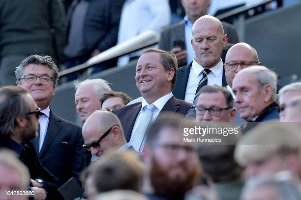 Mike Ashley owner of Newcastle United looks on during the Premier League match between Newcastle United and Leicester City at St James Park on...