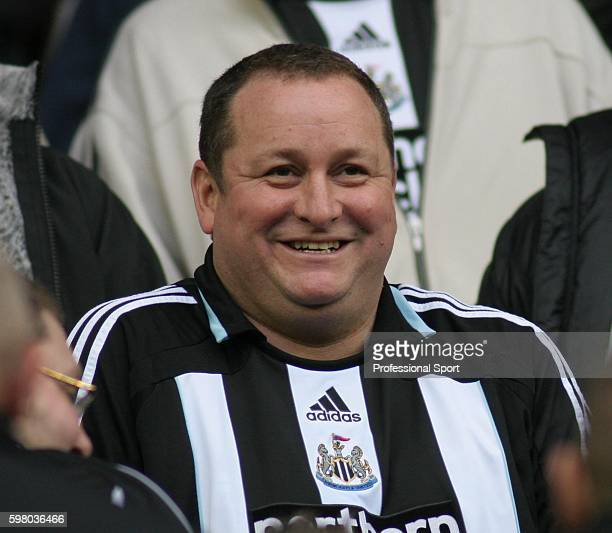 Mike Ashley owner of Newcastle United takes his seat amongst the fans during the Barclays Premier League match between Sunderland and Newcastle...