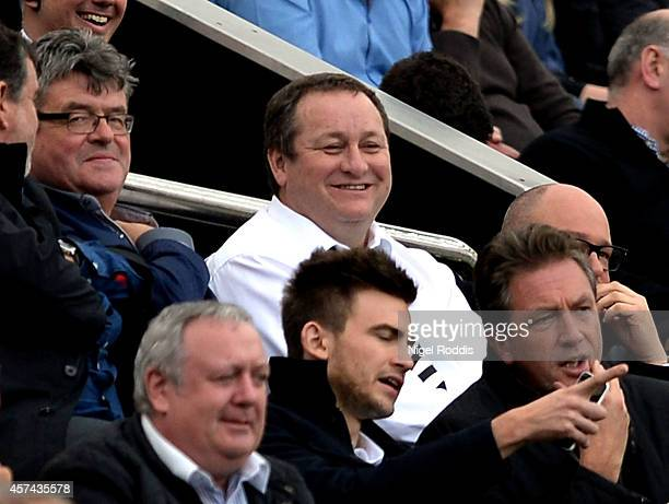 Mike Ashley the owner of Newcastle United looks on during the Barclays Premier League match between Newcastle United and Leicester City at St James'...