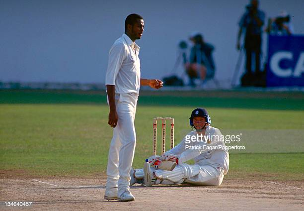 Mike Atherton after being floored by a Courtney Walsh bouncer, West Indies v England, 1st Test, Kingston, Feb 94.