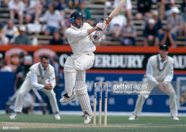 Mike Atherton batting for England during his 1st innings 94 not out in the 3rd Test match between New Zealand and England at Lancaster Park...
