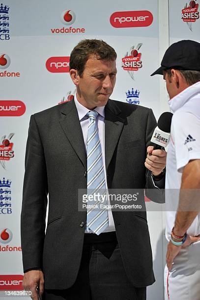 Mike Atherton interviews Andrew Strauss at the end of the match England v Australia 4th Test Headingley Jul 09