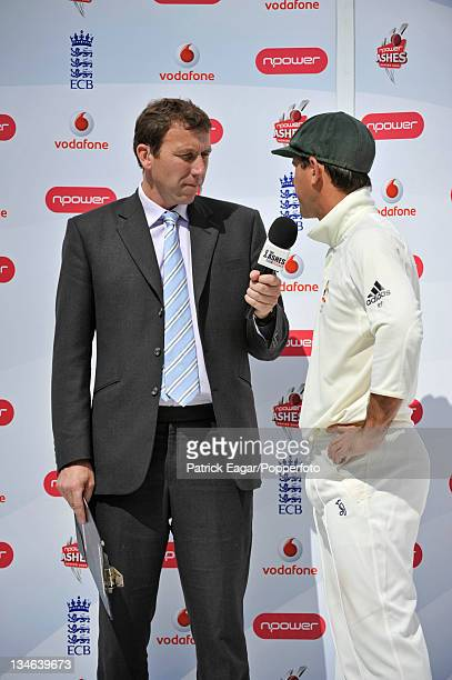 Mike Atherton interviews Ricky Ponting at the end of the match England v Australia 4th Test Headingley Jul 09