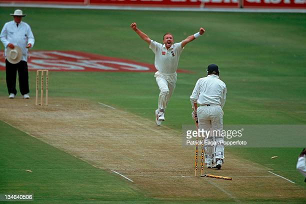 Mike Atherton is bowled by Allan Donald South Africa v England 1st Test Johannesburg Nov 99