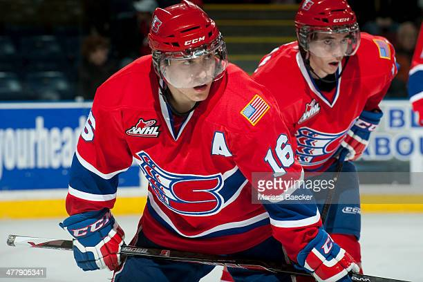 Mike Aviani of the Spokane Chiefs lines up against the Kelowna Rockets on March 5 2014 at Prospera Place in Kelowna British Columbia Canada