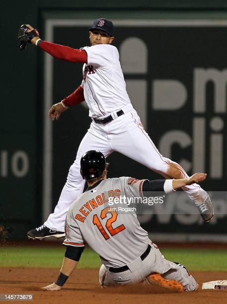 Mike Aviles of the Boston Red Sox fields a high throw as Mark Reynolds of the Baltimore Orioles slides safely into second base in the sixth inning at...