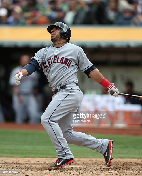 Mike Aviles of the Cleveland Indians bats against the Oakland Athletics during the game at Oco Coliseum on Wednesday April 2 2014 in Oakland...