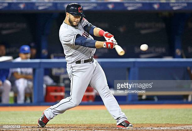 Mike Aviles of the Cleveland Indians bats in the third inning during MLB game action against the Toronto Blue Jays on May 15 2014 at Rogers Centre in...