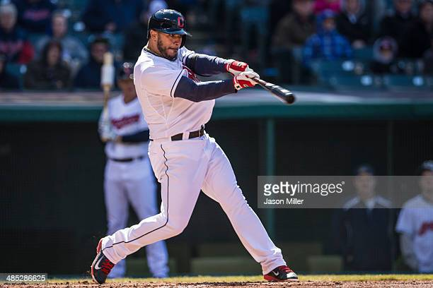 Mike Aviles of the Cleveland Indians up to bat during the third inning against the San Diego Padres during the second game of a double header at...