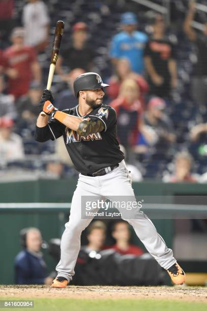 Mike Aviles of the Miami Marlins prepares for a pitch during a baseball game against the Washington Nationals at Nationals Park on August 28 2017 in...