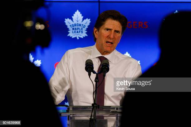 Mike Babcock head coach of the Toronto Maple Leafs answers questions during a press conference after defeating the Boston Bruins at the Air Canada...