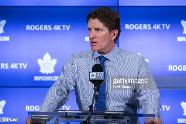 Mike Babcock head coach of the Toronto Maple Leafs speaks to the press after an NHL game against the Buffalo Sabres at the Air Canada Centre on...