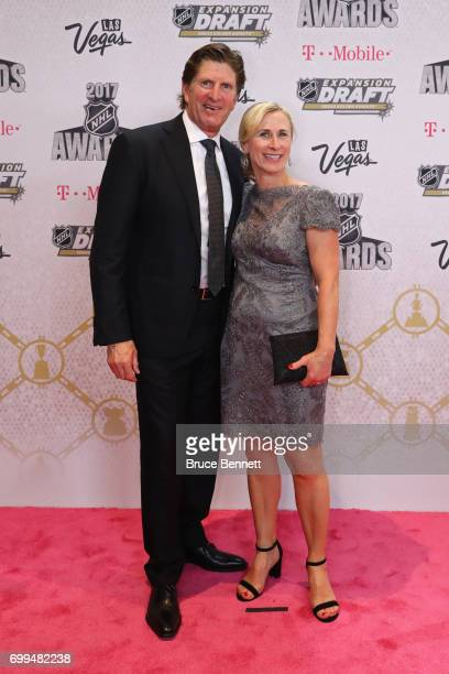 Mike Babcock of the Toronto Maple Leafs and wife Maureen Babcock attend the 2017 NHL Awards at TMobile Arena on June 21 2017 in Las Vegas Nevada