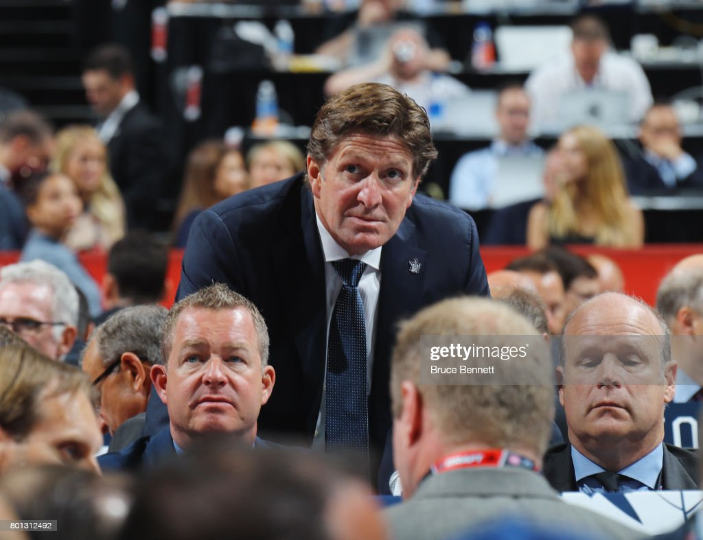 Mike Babcock of the Toronto Maple Leafs attends the 2017 NHL Draft at the United Center on June 24, 2017 in Chicago, Illinois.